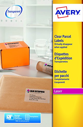 Avery España L7567-25.Caja de 25 etiquetas adhesivas transparentes, 210 x 297mm