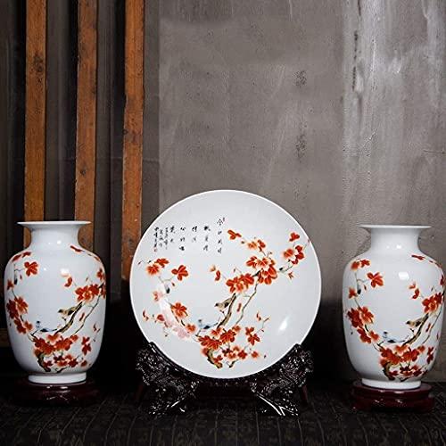 Estatuas de estatuillas de estatuillas de escultur Jarrón de cerámica, jarrón de cerámica Three Piece Decoration Chinese Home Sala de estar TV Cabinete Arreglo de flores Ornamentos (2 placas + base) p