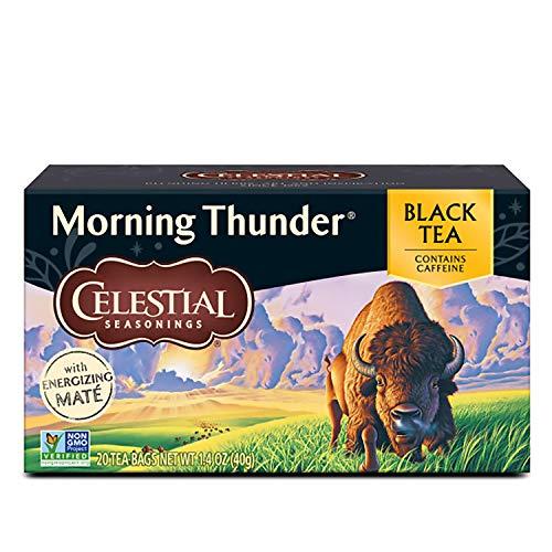 Celestial Seasonings Black Tea, Morning Thunder with Maté, 20 Count (Pack of 6)