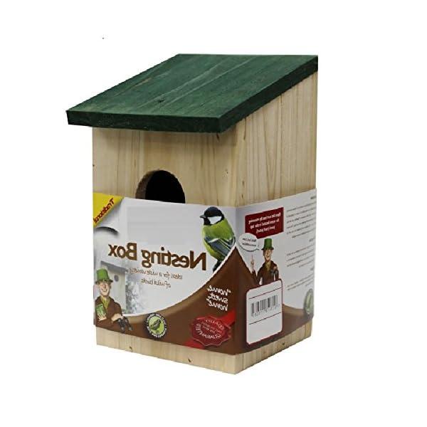 Unibos Outdoor garden traditional wooden bird nesting box bird house small birds blue tit robin sparrow