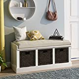 Storage Bench with 3 Basket Drawers, Rustic Entryway Bench/Shoe Bench with Cushioned Seat for Entryway, Hallway, Mudroom, Living Room (White)