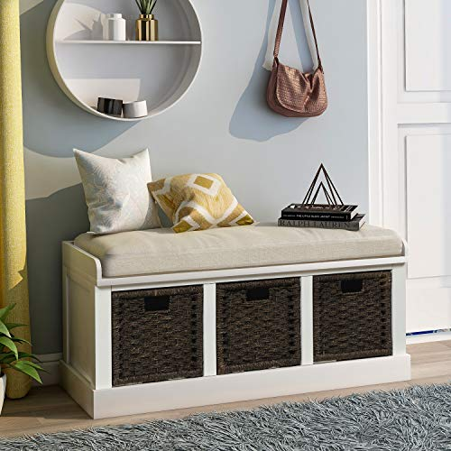 Merax Storage Bench Entryway Storage Bench with 3 Removable Basket, Shoe Bench Fully Assemble Storage Bench with Removable Cushion for Entryway, Hallway,Living Room(White)