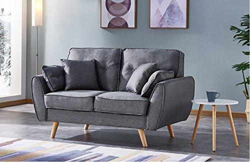 Moloo Otto ausziehbarem Sofa 2Sitzer, Stoff, Grau, 150x 88x 93cm