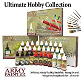 The Army Painter Ultimate Hobby Collection Miniature Painting Kit: 30 Model Paints with 10 Wargamer Brushes, Model Kit Tools, Basing Set, 18 ml/Bottle, Detailing Brush Set, Non-Toxic Acrylic Paint Set