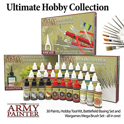 The Army Painter – Ultimate Hobby Collection Kit | 30 Acrylfarben mit 11 Pinseln | Werkzeug, Basing Material | Inclusive Anleitung | schadstofffrei | für Wargames Miniatur Modell Malerei