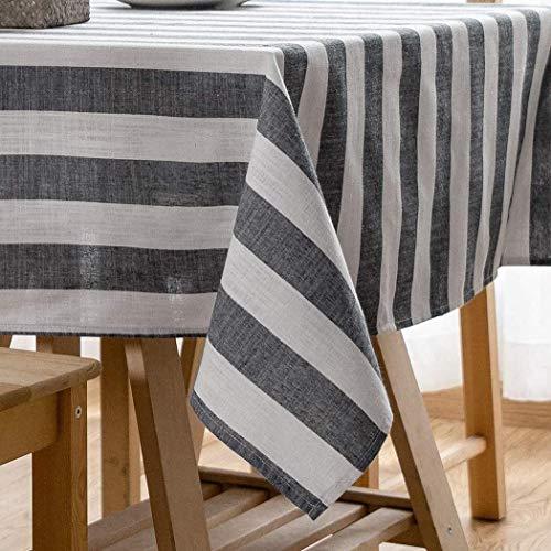 Mantel transparente Mantel rayado, rectangular algodón de lino Mantel a prueba de polvo lavable Cubierta de mesa for picnic café comedor Protector de mesa ( Color : Dark Gray , Size : 140x180cm )