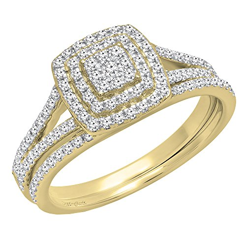 Dazzlingrock Collection 0.50 Carat (ctw) 14K Round Diamond Ladies Cluster Engagement Ring Set 1/2 CT, Yellow Gold, Size 7