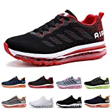 Zapatillas Running Hombre Mujer Deportivas Air Zapatos Deportivos Transpirables Sneakers Calzado Deporte Correr Gimnasio Aire Libre Tenis Asfalto Negro Blanco 833BlancoRojo 40