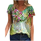 Floral Paint T-Shirt for Women Short Sleeve Colorful Tee Casual Trendy Tops V Neck Plus Size Blouse