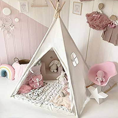 Kids Teepee Tent with Padded Mat & Light String& Carry Case- Kids Foldable Play Tent for Indoor Outdoor, Raw White Canvas Teepee - Kids Playhouse - Portable Kids Tent