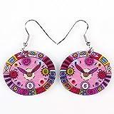 EHXWL Tropfen Uhr Ohrringe Acryl baumeln Muster Frühling Sommer Mädchen Frau Modeschmuck Accessoires niedlichen Design rosa