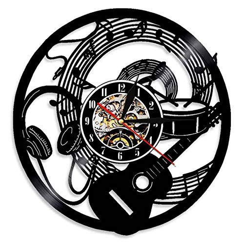 wtnhz LED-Musical Instruments Vinyl Record Wall Clock Modern Design Guitar and Drum Kit Rock Music LED Clock Wall Watch Home Decoration