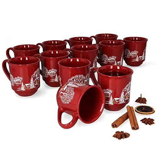 MamboCat 12er Set Glühweinbecher 0,2L rot Weihnachtslandschaft | Klassische Porzellan Glühweintassen | geeicht | ideal für den Weihnachtsmarkt - den Profi & Gastronomiebedarf