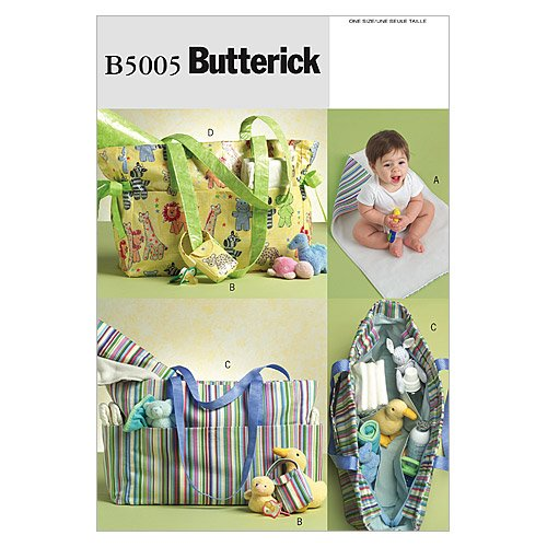 BUTTERICK PATTERNS B5005 Diaper Bag, Changing Pad and Pacifier Case, One Size Only