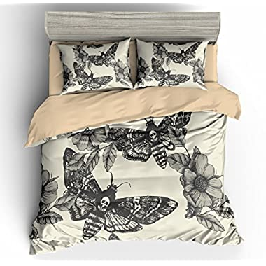 3D Digital Printing Death Moth and Flower Cream 100% BRUSHED MICROFIBER Bedding 3pc Duvet Cover Sets King size