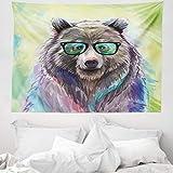 ABAKUHAUS Tier Wandteppich & Tagesdecke, Colored Wild Bear Art, aus Weiches Mikrofaser Stoff Wand Dekoration Für Schlafzimmer, 150 x 110 cm, Limettengrün Violett