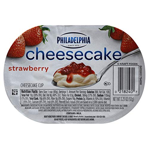 Philadelphia Ready To Eat Strawberry Cheesecake Cups 3.25 ounce (Pack of 12)