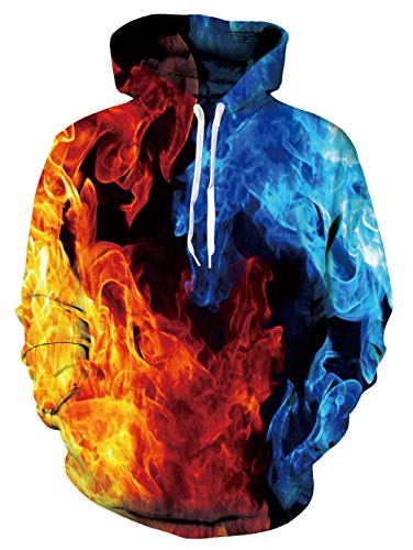 ALISISTER Unisex 3D Galaxis Feuer Hoodies Kapuzenpullover Teens Mädchen Jungen Neuheit Muster Pullover Hoodys Beiläufig Sport Party Kostüme Kapuzen-Sweatshirt mit Taschen L