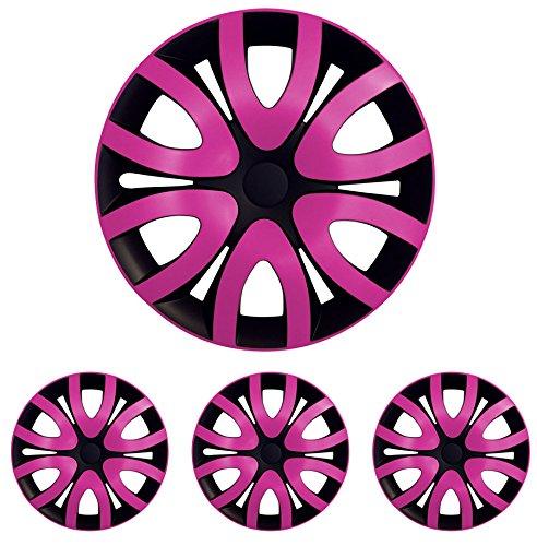 """Fussmatten-Deluxe 4er Set Universal Radkappen Radzierblenden 15 Zoll 15"""" R15 universell für Stahlfelgen vieler Fabrikate Bicolor Schwarz - Pink"""