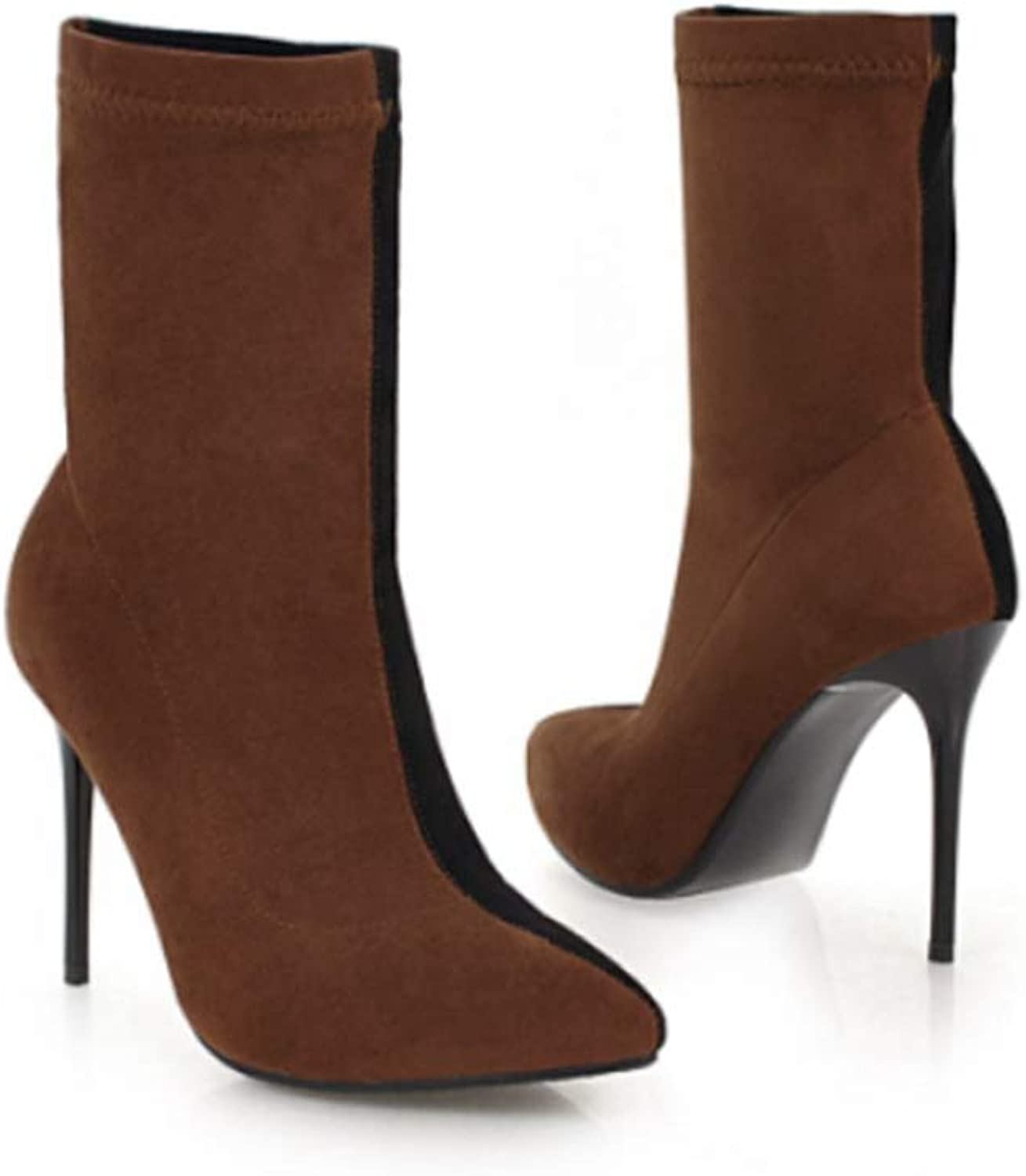 Hoxekle Women Winter Mid Calf Boots High Thin Heels Slip on Mixed colors Pointed Toe Sexy shoes