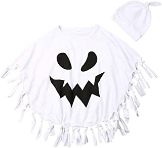 Ambabe 2PCS Toddler Kids Baby Boy Girl Halloween Clothes White Ghost Tassel Cosplay Cloak Cape+HatFancy Party Costume 1-5Y
