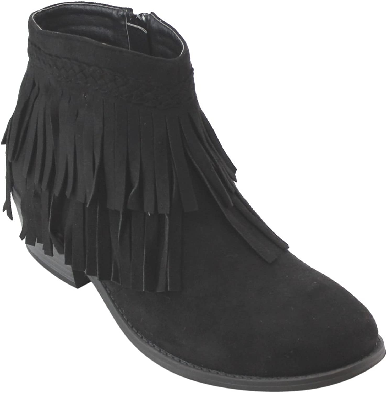 Refresh AD41 Women's Fringe Side Zipper Block Heel Ankle Booties