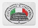 N\A Alfombrilla de baño con Bandera Italiana, Coliseo Retro de Grunge, histórico y Famoso, gráfico de Estilo de Arte Pop de Roma, Felpa para decoración de baño con Respaldo Antideslizante