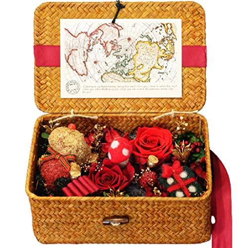 LZL Caja de flores de ratán preservada con rosas preservadas, caja de regalo de flores reales preservadas para