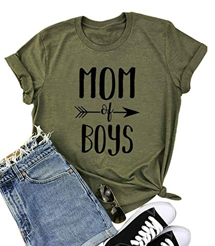 Umsuhu Mom of Boys Shirts for Women Funny Cute Mom Shirts with Sayings Mother Gifts Shirt Medium Green