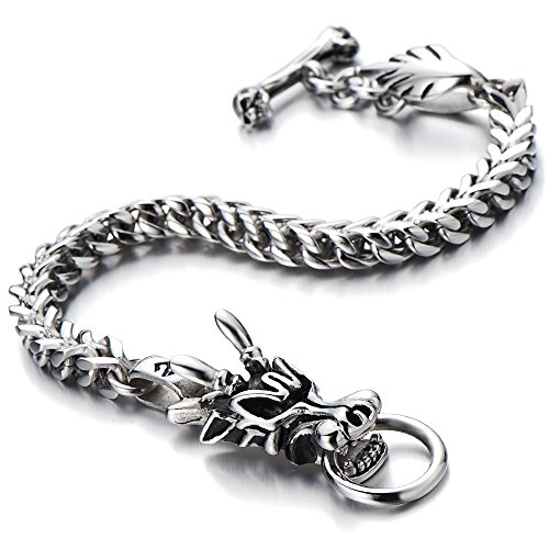 COOLSTEELANDBEYOND Mens Biker Stainless Steel Dragon...