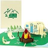 PaperCrush® Pop-Up Karte Camping mit Wohnwagen - 3D Geburtstagskarte für Camper, Lustiges...
