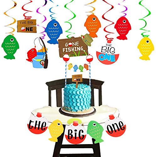 JeVenis Set von 3 The Big One Banner Gone Fishing Party Hängedekorationen The Big One Cake Topper The Big One Party Dekoration für Angeln Geburtstag Dekoration Angeln Motto 1. Geburtstag Dekoration