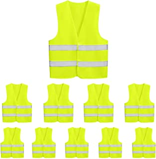 10 Pack Mount Marter safety vest reflective running vest for men and women, High visibility & Long distance, Yellow safety reflective vest with 380° super bright reflective strip for traffic, surveyor