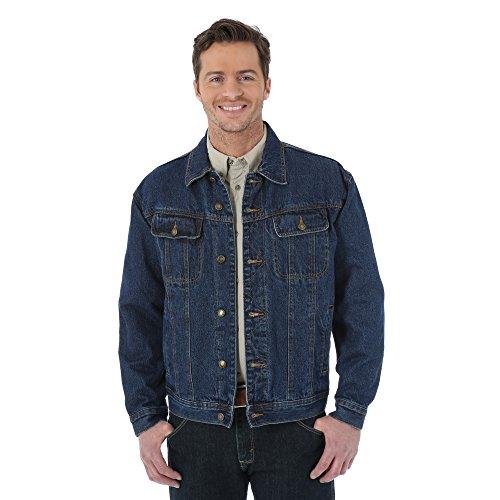 Wrangler Men's Rugged Wear Flannel Lined Jacket, Antique Navy, Large