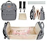 Pasutewel 5-in-1 Travel Bassinet Foldable Baby Bed Diaper Bag Backpack, Multi-Function Large-Capacity, Portable Bassinets for Newborn Baby, Travel Crib Infant Sleeper, Baby Nest with Mattress (Grey)