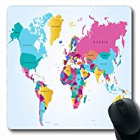 マウスパッド長方形7.9x9.8インチ色米国詳細な世界地図アフリカ要素抽象的な海現実的な東のエンブレムテクスチャ国滑り止めゴムマウスパッドオフィスコンピュータラップトップゲームマット