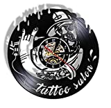 Estudio de Tatuajes, Letrero de Negocios, Registro de Vinilo, Reloj de Pared, salón de Tatuajes, inauguración, Reloj de Pared Decorativo, 12 Pulgadas