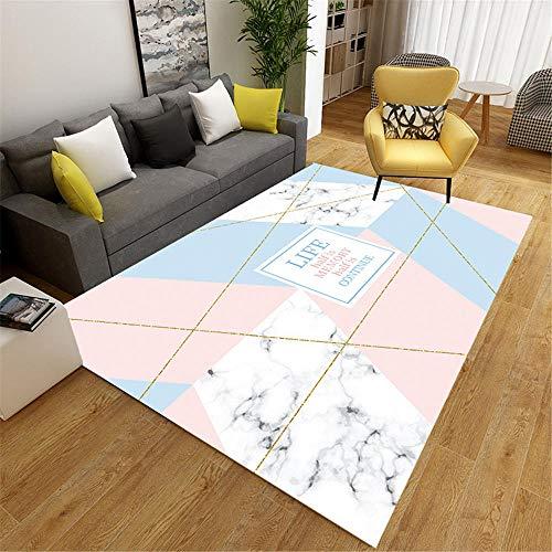 RUGMRZ Outside Rug Pink blue marble modern geometric pattern soft salon rug durable Carpet For Kids Cat Rug pink 180X200CM