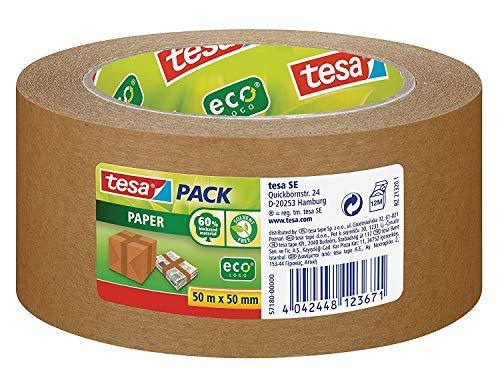 tesapack® Paper ecoLogo - Umweltgerechtes Paketband aus Papier, 60 % biobasiertes Material - Braun - 50 m x 50 mm