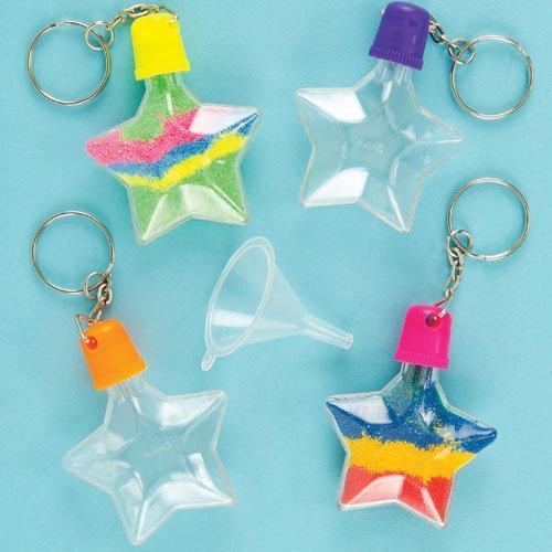 Baker Ross ET119 Sandkunst Schlüsselanhänger, Stern zum Basteln für Kinder, toller Schmuck für Taschen, 5 Stück