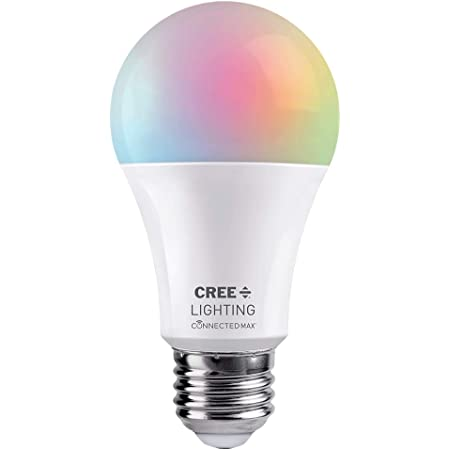 Cree Lighting Connected Max Smart LED Bulb A19 60W Tunable White + Color Changing, Works with Alexa and Google Home, No Hub Required, Bluetooth + WiFi, 1pk