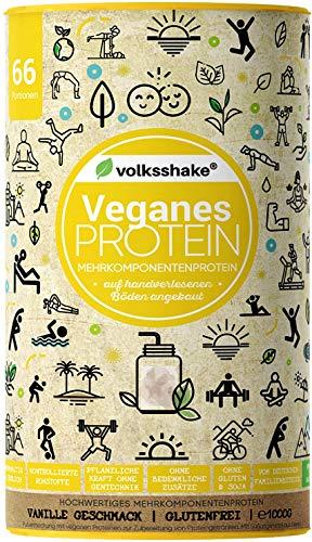 VEGANES PROTEIN - Double VANILLA | Volksshake | 1kg |Natürlich mit Mandel-, Reis-, Hanf-, Chia- & Kürbiskernprotein|glutenfrei