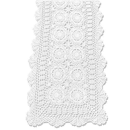 KEPSWET Cotton Handmade Crochet Lace Table Runner White Rectangle...