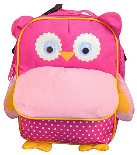 BOMIO   Unisex Kinder-Rucksack mit witzig-tierischem Design   Leicht zu reinigendes Polyestermaterial   verstellbare Gurte   Fassungsvermögen ca. 2,5 Liter   Eule pink