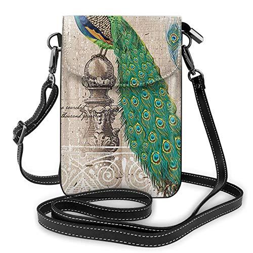 Monedero del teléfono del arte del pavo real animal, monedero del teléfono del cuero de la PU, bolso de hombro de la bolsa para la cartera del tenedor de la tarjeta de las mujeres