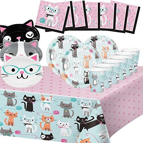 Générique Cat Party 8 Children Adult Birthday Taste Tea Decoration Tableware 1 Tablecover 8 Plates of 18 cm 4 Cathead-shaped Plates 8 Cups 16 towels
