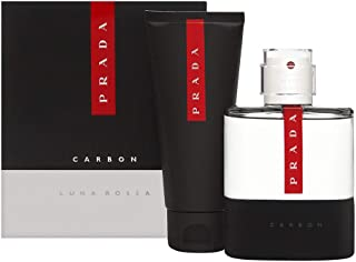 PRADA LUNA ROSSA CARBON TRAVEL SET 100ML 3.4OZ EDT 10ML 0.34OZ EDT 100ML 3.4OZ SHOWER GEL