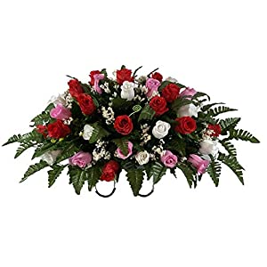 Red, Pink, White Roses Cemetery Flower Arrangement, Headstone Saddle, Grave, Tombstone Arrangement, Cemetery Flowers