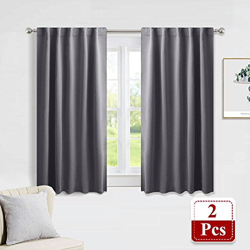 "PONY DANCE Gray Blackout Curtains - Window Treatments Thermal Insulated Light Blocking Drapes Back Tab/Rod Pocket Curtain Panels for Bedroom Living Room, 42"" W x 45"" L, Grey, 1 Pair"