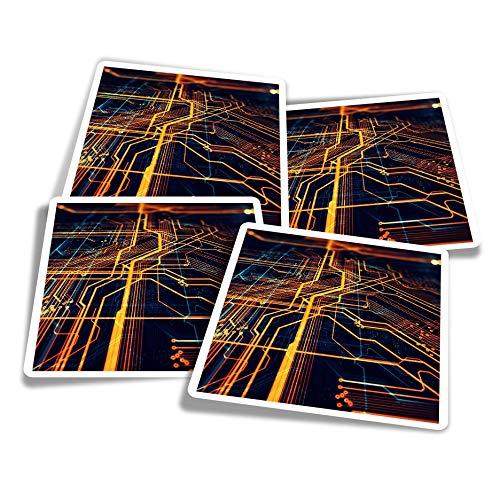Pegatinas de vinilo (juego de 4) 10 cm – Placa base de circuitos para ordenador portátil, tabletas, equipaje, reserva de chatarra, neveras #21358